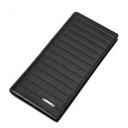 Długi portfel z tłoczonymi rowkami Czarny